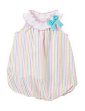 Rare Editions Pastel Stripped Seersucker Bubble Romper – Baby 0-12 Mos.