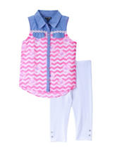 Pogo Club 2-pc. Chambray Chevron Chiffon Button Down Legging Set – Baby & Toddlers 2-6 Mos.