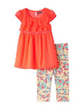 Pogo Club 2-pc. Swiss Dot Ruffle Printed Legging Set – Girls 2-6x