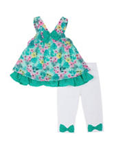 Little Lass 2-pc. Mint Floral Top & Leggings Set – Baby 12-24 Mos.