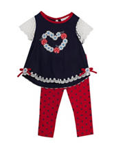 Rare Editions 2-pc. Navy & Red Top & Leggings Set – Baby 12-24 Mos.