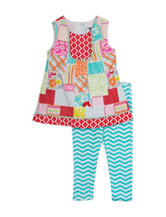 Rare Editions 2-pc. Patchwork Top & Leggings Set – Baby 12-24 Mos.