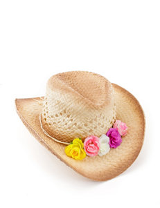 Capelli Floral Accented Straw Hat