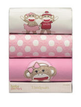 Baby Starters 3-pc. Pink Sock Monkey Bodysuit Set – Baby 0-6 Mos.