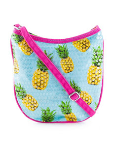 On The Verge Pineapple Print Sequin Overlay Crossbody Bag