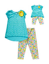 Dollie & Me 2-pc. Turquoise Jeweled Top & Pant Set – Girls 4-14