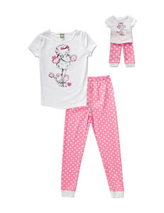 Dollie & Me Pink Polka Dot Poodle Pajamas – Girls 4-14