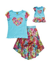 Dollie & Me 2-pc. Shirt & Floral Skirt Set – Girls 2-6X