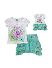 Dollie & Me 2-pc. Top & Floral Skirt Set – Girls 4-14