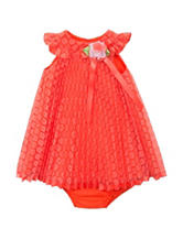 Rare Editions Coral Lace Pleated Dress – Baby 12-24 Mos.