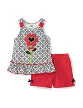 Kids Headquarters 2-pc. Floral Appliqué Top & Shorts Set – Baby 12-24 Mos.