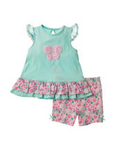 Baby Gear 2-pc. Butterfly Top & Floral Print Shorts Set - Baby 0-24 Mos.