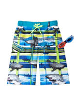 Zero Xposur Shark Wave Plaid Swim Trunks With Goggles – Boys 8-20