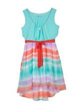 Amy Byer Turquoise Tie-Dye Hi-Lo Chiffon Dress – Girls 7-16
