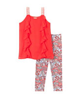 One Step Up 2-pc. Solid Color Coral Gables Ruffled Paisley Legging Set – Girls 7-16