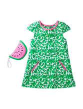 Pogo Club Green & White Floral Print Shift Dress – Girls 4-6x