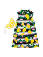 Pogo Club Lemon & Striped Print Dress – Girls 2-6x