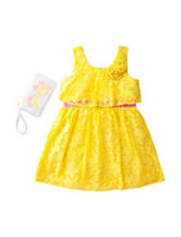 Pogo Club Yellow Lace Dress with Sunglass Purse – Girls 2-6x