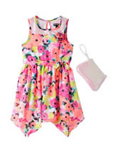 Pogo Club Sequin Neon Pink Floral Chiffon Dress – Girls 4-6x