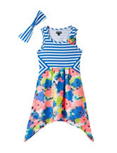 Pogo Club Royal Multicolored Striped Floral Dress – Girls 4-6x
