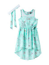 Pogo Club Surf Floral & Bird Chiffon Dress – Girls 4-6x