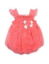 Baby Essentials Coral Swiss Dot Bubble Dress - Baby 3-9 Mos.