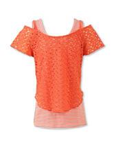 Speechless Crochet Striped Layered-Look Top – Girls 7-16