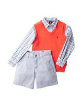 Nautica 3-pc. Sweater Vest & Shorts Set – Boys 4-7