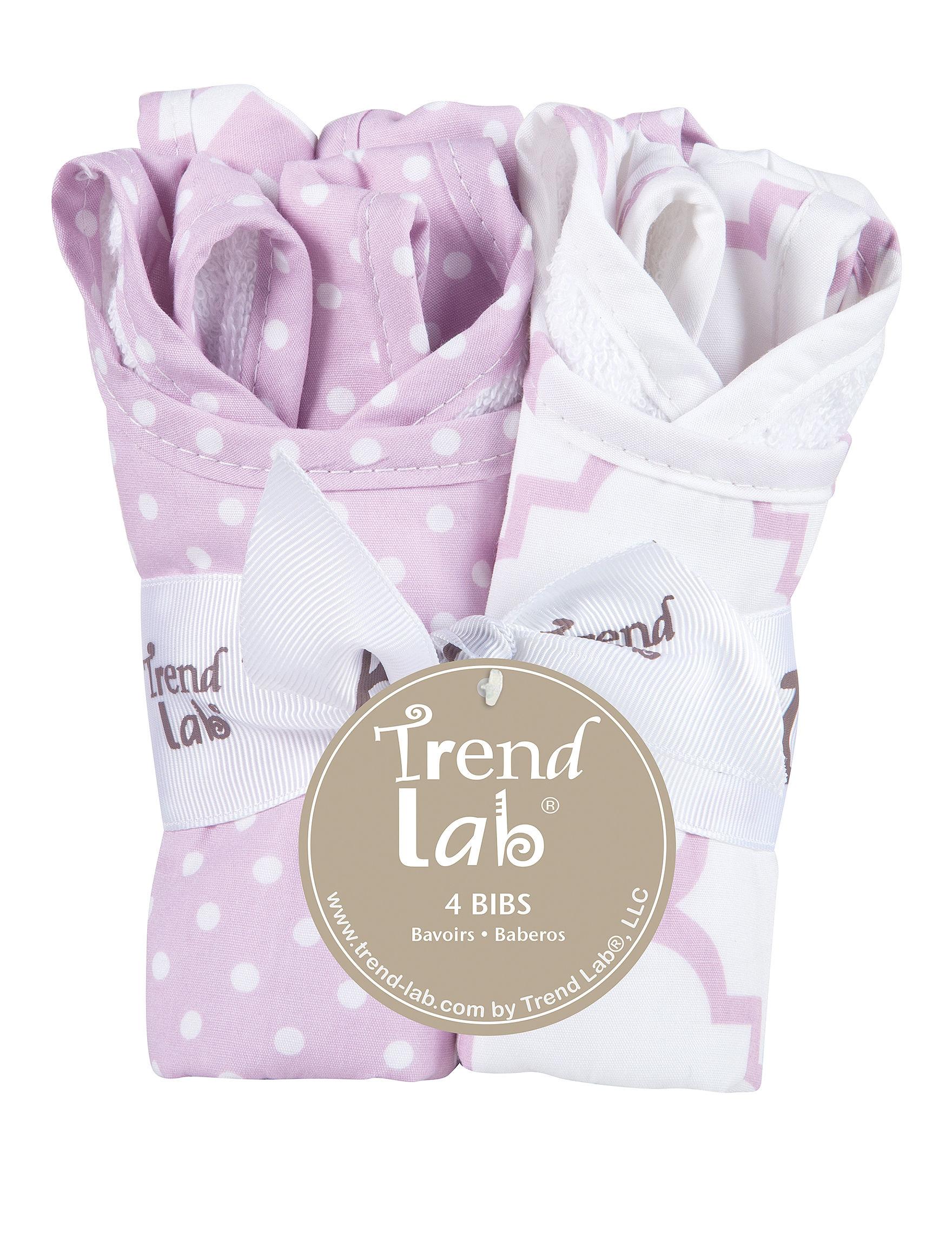Trend Lab Purple / White Bibs & Burp Cloths