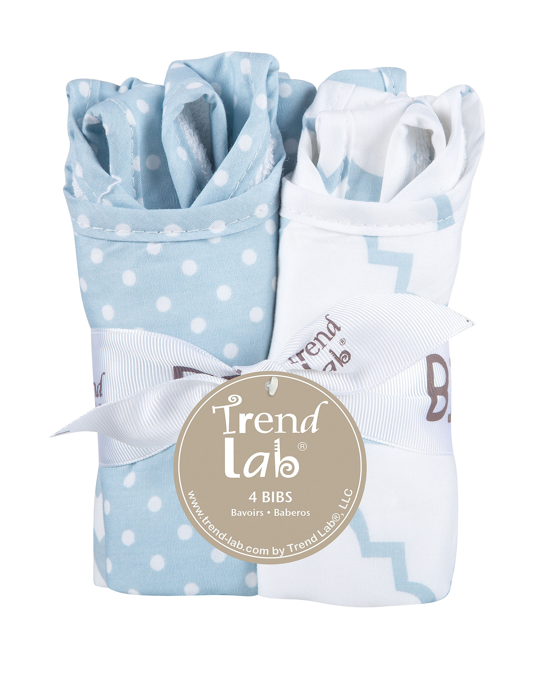 Trend Lab Blue / White Bibs & Burp Cloths