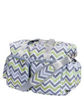 Trend Lab Green & Gray Chevron Deluxe Diaper Duffle Bag
