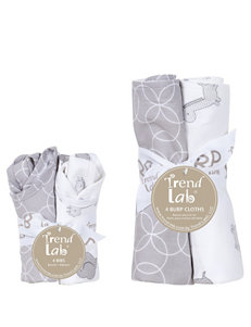 Trend Lab Grey / White Bibs & Burp Cloths
