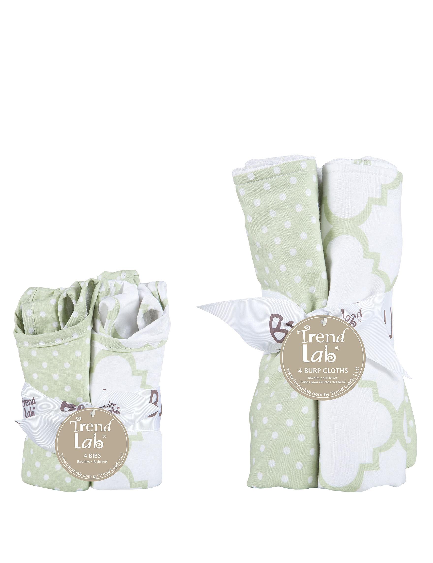 White / Green Bibs & Burp Cloths