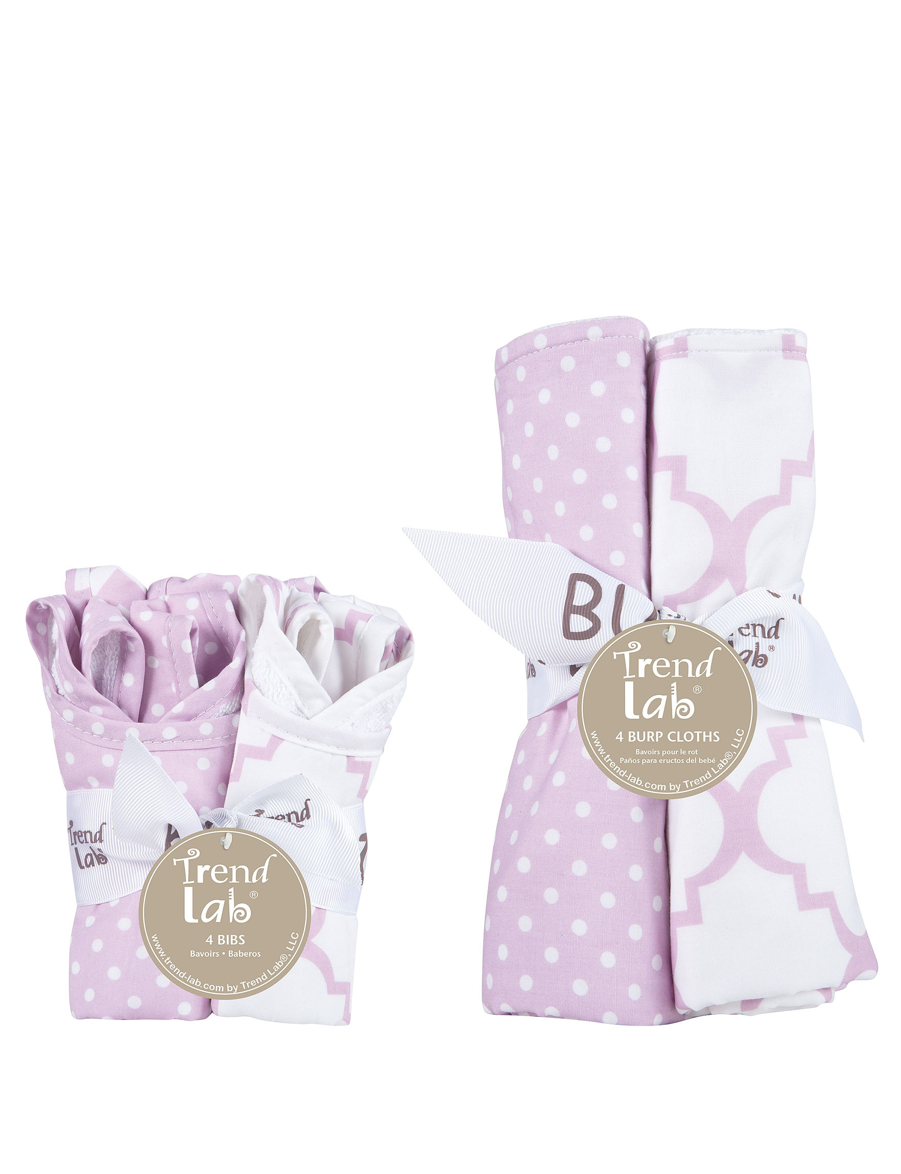 Trend Lab Purple / White Bibs & Burp Cloths