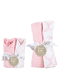 Trend Lab Pink / White Bibs & Burp Cloths