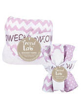 Trend Lab 6-pc. Orchid Bloom Chevron Hooded Towel & Wash Cloth Set