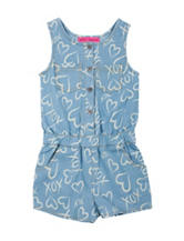 Betsey Johnson Heart Print Chambray Romper – Toddler Girls