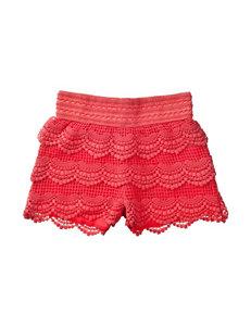 Love Peace & Lip Gloss Solid Color Crochet Shorts – Girls 4-6x