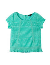My Michelle Mint Lace Fringed Top – Girls 7-16