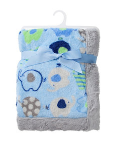 Baby Essentials Blue & Gray Elephant Plush Blanket