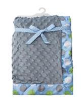 Baby Essentials Gray & Blue Popcorn Polka Dot Trim Blanket