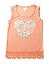 Miss Chievous Apricot Crochet Heart Tank Top – Girls 7-16
