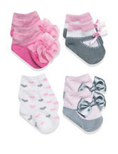 Baby Essentials 4-pk. Fancy Heart Bow Socks – Baby