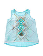 Beautees Mint Crochet Aztec Top With Necklace – Girls 7-16