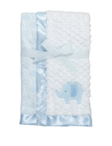 Baby Gear Blue & White Elephant Plush Blanket