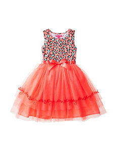 Betsey Johnson Neon Coral Leopard Tutu Dress – Girls 7-16