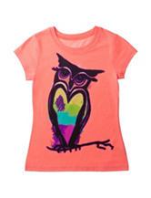 Twirl Neon Coral Heart Owl Top – Girls 7-16