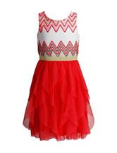 Emily West Chevron Ruffled Dress – Girl 7-16