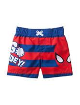 Spiderman Red & Blue Striped Print Go Spidey Swim Trunks – Baby 12-24 Mos.