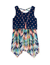 Pogo Club Twin Print Popover Dress with Necklace – Girls 4-6x